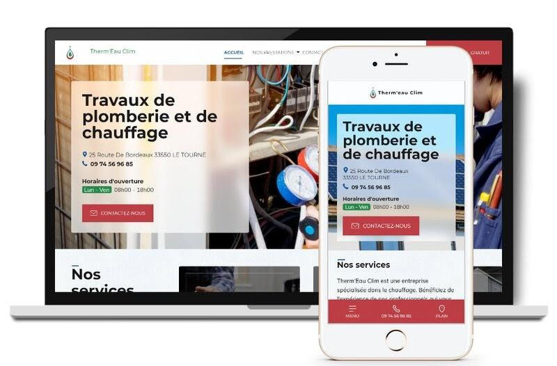 Affichage desktop et mobile d'un site web réalisé par Linkeo